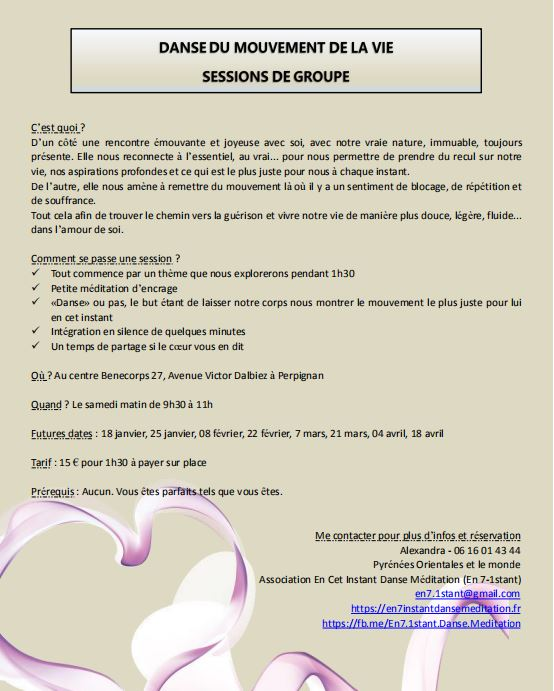 Session de danse du Mouvement de la Vie à Benecorps à Perpignan le samedi matin de 9h30 à 11h